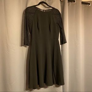 LondonTimes Illusion Keyhole Back Crepe Lace Dress